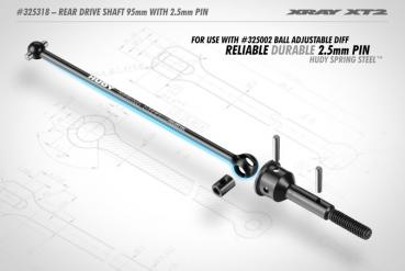 XT2 REAR DRIVE SHAFT 95MM WITH 2.5MM PIN - HUDY SP