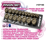 SET OF 18 ALU PINIONS 64P WITH CADDY 18T ~ 35T