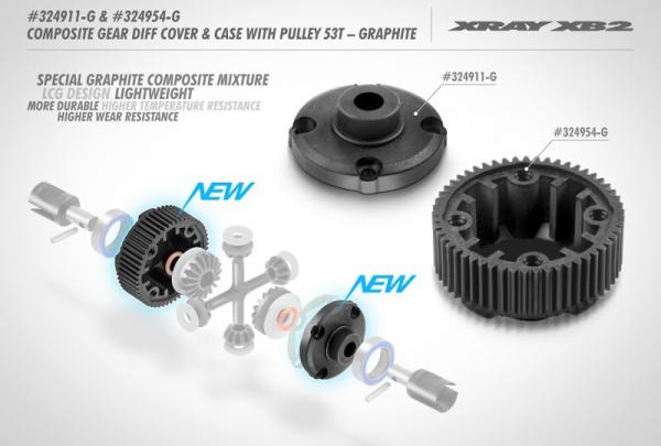 COMPOSITE GEAR DIFFERENTIAL CASE WITH PULLEY 53T - LCG - GRAPHITE